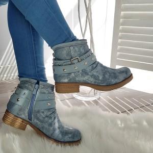 Niebieskie botki made2wear na obcasie w stylu casual