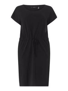 Czarna sukienka Vero Moda z okrągłym dekoltem z bawełny mini