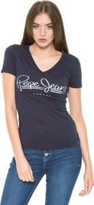 Niebieski t-shirt Pepe Jeans z dekoltem w kształcie litery v z krótkim rękawem