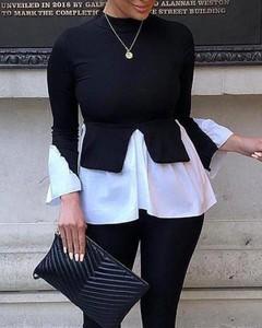 Czarna bluzka Kendallme z długim rękawem w stylu casual z golfem