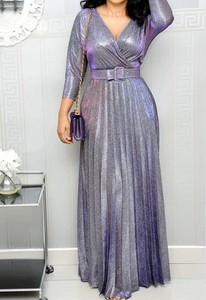 Fioletowa sukienka Arilook z długim rękawem maxi z dekoltem w kształcie litery v