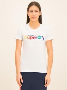 T-shirt Superdry w młodzieżowym stylu z okrągłym dekoltem