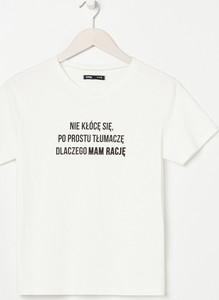 T-shirt Sinsay z krótkim rękawem z bawełny z okrągłym dekoltem