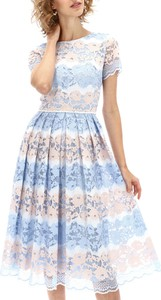 Niebieska sukienka POTIS & VERSO z tkaniny z krótkim rękawem midi