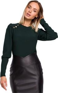Zielona bluzka MOE z okrągłym dekoltem w stylu casual