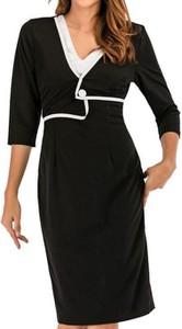 Czarna sukienka Cikelly ołówkowa z długim rękawem