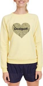 Żółta bluza Desigual krótka w młodzieżowym stylu