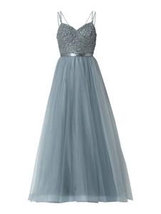 Niebieska sukienka Unique z dekoltem w kształcie litery v w stylu glamour