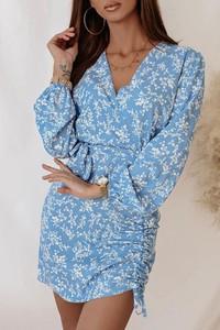 Niebieska sukienka Shopaholics Dream z długim rękawem mini z dekoltem w kształcie litery v