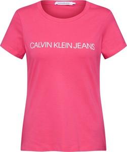 Różowy t-shirt Calvin Klein z krótkim rękawem