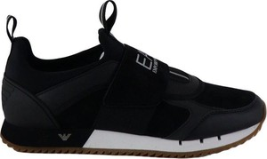 Czarne buty sportowe Emporio Armani ze skóry w sportowym stylu
