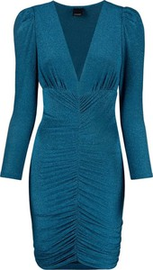 Niebieska sukienka Pinko mini z dżerseju z dekoltem w kształcie litery v