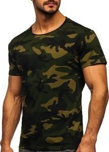 Zielony t-shirt Denley z bawełny z krótkim rękawem