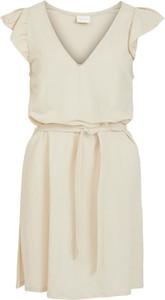 Sukienka Vila z krótkim rękawem z dekoltem w kształcie litery v