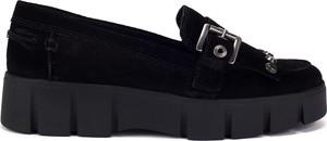 Czarne półbuty Geox ze skóry na platformie w stylu casual