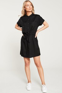 Czarna sukienka V by Very mini w stylu casual koszulowa