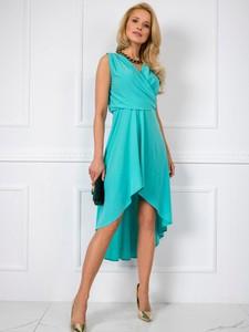 Niebieska sukienka Factory Price asymetryczna bez rękawów z dekoltem w kształcie litery v
