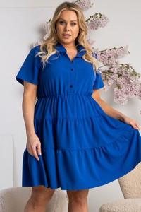 Niebieska sukienka KARKO mini z dekoltem w kształcie litery v w stylu casual