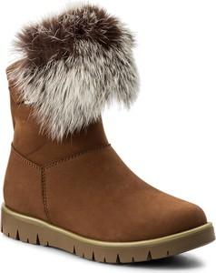 Brązowe buty dziecięce zimowe bartek ze skóry na zamek dla dziewczynek