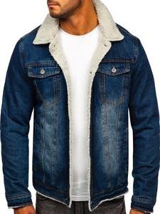 Granatowa kurtka Denley z jeansu w młodzieżowym stylu