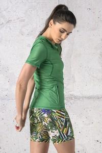 Zielona bluzka Nessi Sportswear z okrągłym dekoltem z krótkim rękawem z tkaniny