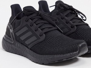 Czarne buty sportowe Adidas Performance ultraboost sznurowane z płaską podeszwą