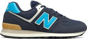 Granatowe buty sportowe New Balance w sportowym stylu z zamszu sznurowane