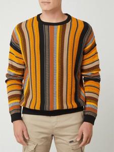Pomarańczowy sweter Review z bawełny z okrągłym dekoltem w młodzieżowym stylu