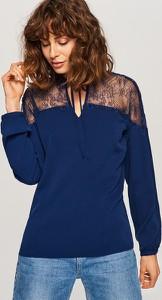 Granatowa bluzka Reserved z długim rękawem w stylu casual