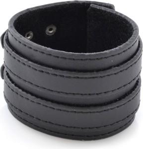 Trendhim Czarna skórzana bransoletka z podwójnym paskiem