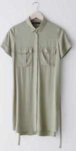 Zielona sukienka Sinsay z krótkim rękawem koszulowa w stylu casual