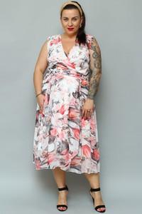Sukienka KARKO dla puszystych z dekoltem w kształcie litery v z szyfonu