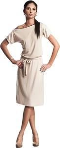 Sukienka Nife midi z krótkim rękawem z okrągłym dekoltem