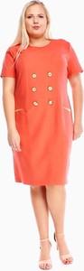 Czerwona sukienka Fokus midi z okrągłym dekoltem
