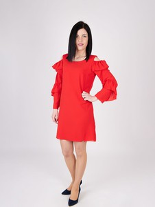 Sukienka Sklepfilloo z okrągłym dekoltem z długim rękawem mini