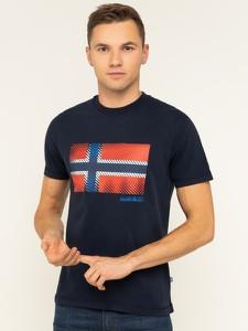 Granatowy t-shirt Napapijri z nadrukiem