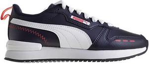 Granatowe buty sportowe Puma sznurowane ze skóry