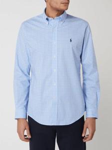 Niebieska koszula POLO RALPH LAUREN z kołnierzykiem button down z długim rękawem w stylu casual