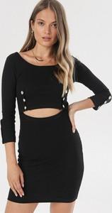 Czarna sukienka born2be dopasowana z okrągłym dekoltem mini