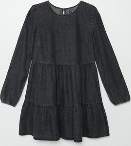 Czarna sukienka Cropp z jeansu w stylu casual z długim rękawem