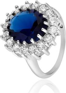 SADVA Pierścionek srebrny z niebieską owalną cyrkonią