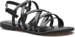 Czarne sandały Refresh z płaską podeszwą z klamrami ze skóry ekologicznej