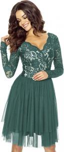 Zielona sukienka Kartes-moda z dekoltem w kształcie litery v