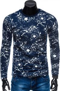 Niebieska bluza Edoti z nadrukiem w młodzieżowym stylu