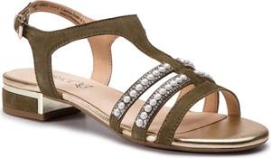 Sandały Caprice z płaską podeszwą z zamszu