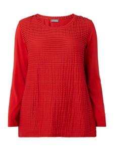 Czerwona bluzka Samoon z długim rękawem z okrągłym dekoltem