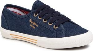 Niebieskie trampki Pepe Jeans z tkaniny sznurowane