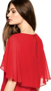 Czerwona sukienka L'AF z tkaniny mini z długim rękawem