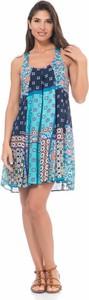 Niebieska sukienka Peace & Love na ramiączkach z okrągłym dekoltem