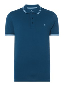 Niebieska koszulka polo Christian Berg Men z bawełny w stylu casual z krótkim rękawem